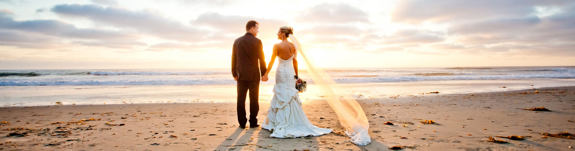 photo of san diego beach wedding couple