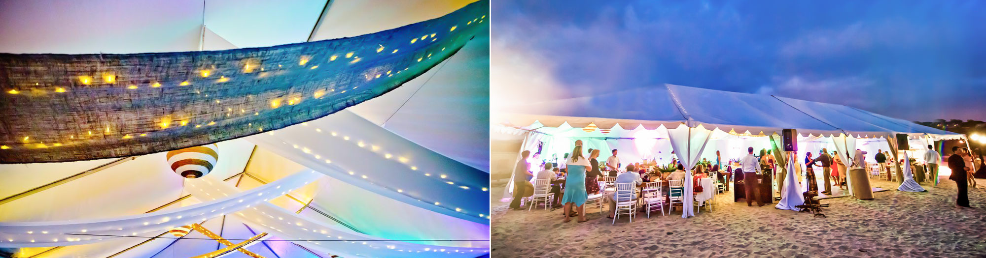 photo of nighttime san diego beach wedding reception party